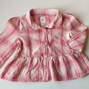 Baby Gap Pink Plaid Button Up Top * Size 12-18M